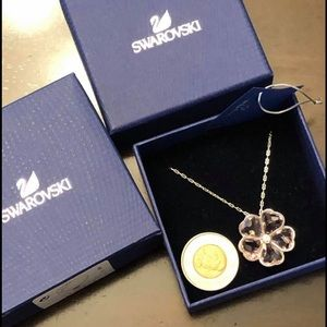 BNIB Swarovski pale pink flower necklace